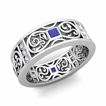 Princess Cut Celtic Knot Sapphire Wedding Band Ring in Platinum, 7.5mm