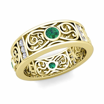 Diamond and Emerald Celtic Knot Wedding Band Ring in 18k Gold, 7.5mm