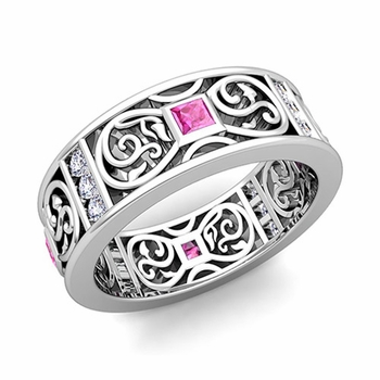 Princess Cut Celtic Knot Pink Sapphire Wedding Band Ring in 14k Gold, 7.5mm