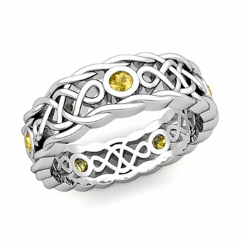 Brilliant Yellow Sapphire Ring in 14k Gold Celtic Knot Wedding Band, 7mm