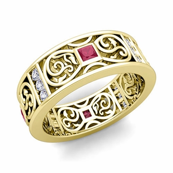 Princess Cut Celtic Knot Ruby Wedding Band Ring in 18k Gold, 7.5mm