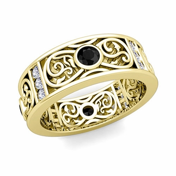 Black and White Diamond Celtic Wedding Band Ring in 148k Gold, 7.5mm