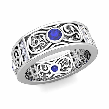 Diamond and Sapphire Celtic Knot Wedding Band Ring in Platinum, 7.5mm