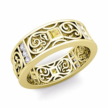 Princess Cut Celtic Knot Yellow Sapphire Wedding Band Ring in 18k Gold, 7.5mm