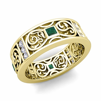 Princess Cut Celtic Knot Emerald Wedding Band Ring in 18k Gold, 7.5mm
