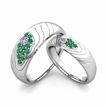 Matching Wedding Ring in 14k Gold Contour Diamond and Emerald Wedding Band