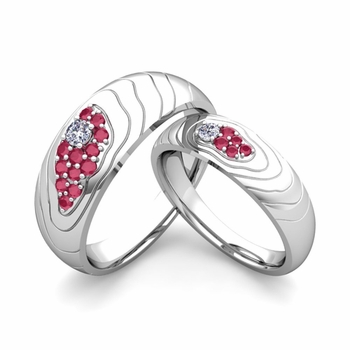 Matching Wedding Ring in Platinum Contour Diamond and Ruby Wedding Band