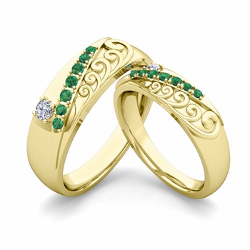 Matching Wedding Band in 18k Gold Unique Diamond and Emerald Wedding Rings