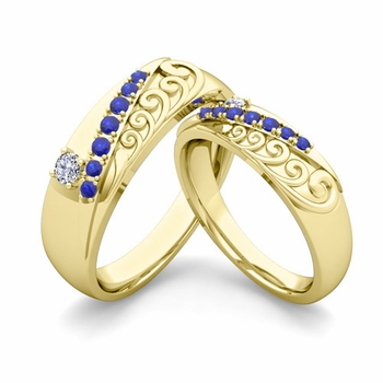 Matching Wedding Band in 18k Gold Unique Diamond and Sapphire Wedding Rings