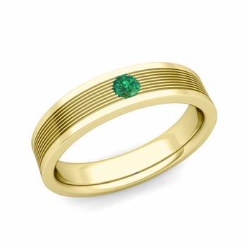Solitaire Emerald Mens Wedding Band in 18k Gold Comfort Fit Ring, 5mm
