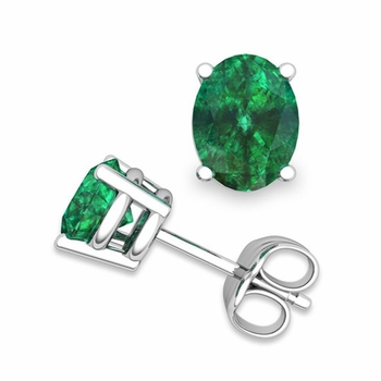 Natural Oval Emerald Stud Earrings in 14k Gold 4 Prong Studs, 7x5mm