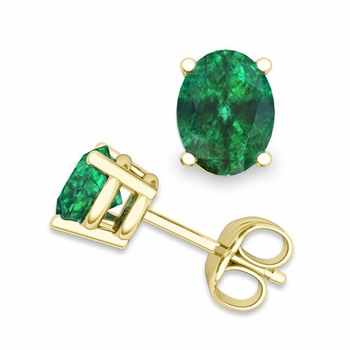 Natural Oval Emerald Stud Earrings in 18k Gold 4 Prong Studs, 7x5mm