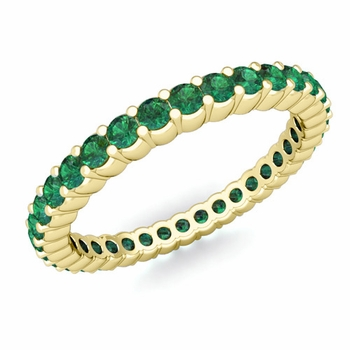 Petite Pave Emerald Eternity Band Ring in 18k Gold