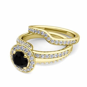 Wave Black and White Diamond Engagement Ring Bridal Set in 18k Gold, 7mm