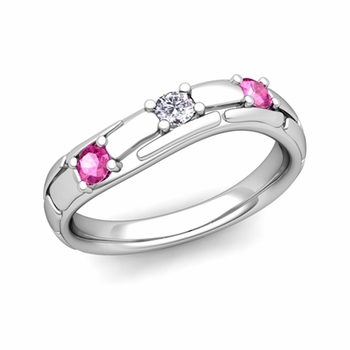 Organica 3 Stone Diamond Pink Sapphire Wedding Ring in 14k Gold, 3mm