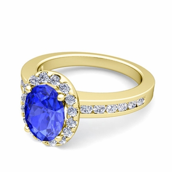 Diamond and Ceylon Sapphire Halo Engagement Ring in 18k Gold Channel Set Ring, 7x5mm