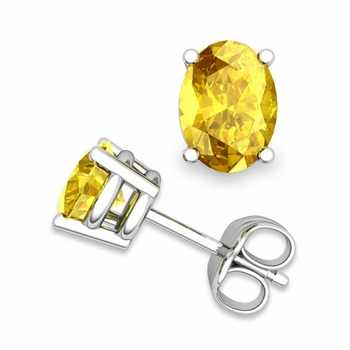 Natural Oval Yellow Sapphire Stud Earrings in 14k Gold 4 Prong Studs, 7x5mm