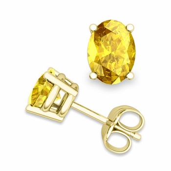 Natural Oval Yellow Sapphire Stud Earrings in 18k Gold 4 Prong Studs, 7x5mm