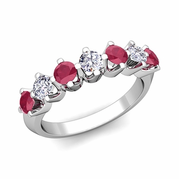 Crown Diamond and Ruby Ring in Platinum Knife Edge Wedding Band