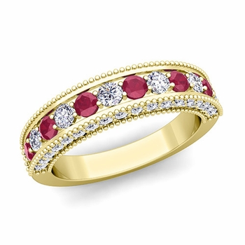 Vintage Inspired Ruby and Diamond Wedding Ring Band in 18k Gold