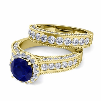 Bridal Set of Heirloom Diamond and Sapphire Engagement Wedding Ring in 18k Gold, 7mm