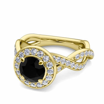 Infinity Black and White Diamond Halo Engagement Ring in 18k Gold, 7mm
