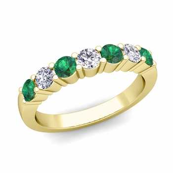 7 Stone Diamond and Emerald Wedding Ring in 18k Gold