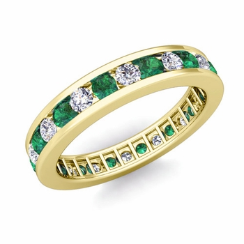 Channel Set Diamond and Emerald Eternity Band in 18k Gold