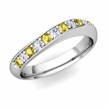 Curved Diamond and Yellow Sapphire Wedding Ring in Platinum, 4mm