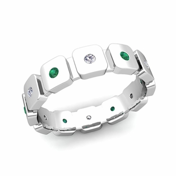 Flush Set Diamond and Emerald Mens Wedding Band in Platinum Comfort Fit Ring, 5mm