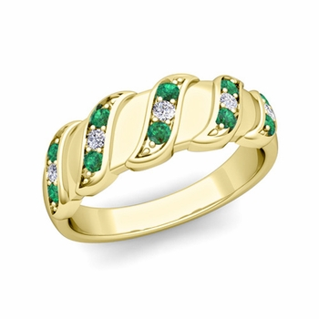 Twisted Diamond and Emerald Wedding Ring Band in 18k Gold, 5mm