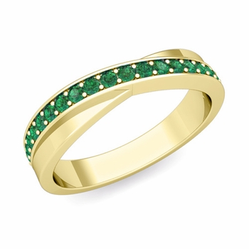 Infinity Emerald Wedding Ring Band in 18k Gold, 3.8mm