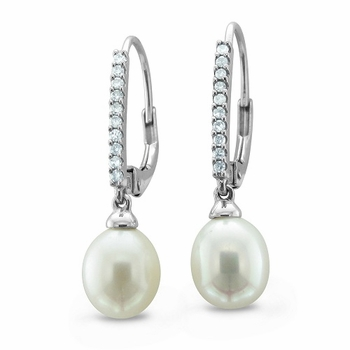 Cultured Pearl and Pave Diamond Drop Earrings in 14k White Gold 8-8.5mm