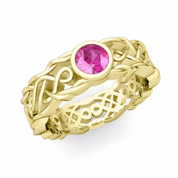 Solitaire Pink Sapphire Ring in 18k Gold Celtic Knot Wedding Band, 6.5mm