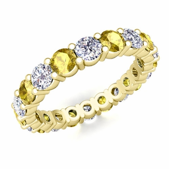 Diamond and Yellow Sapphire Eternity Ring Band in 18k Gold