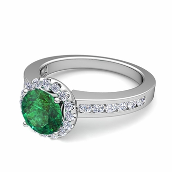 Diamond and Emerald Halo Engagement Ring in Platinum Channel Set Ring, 7mm