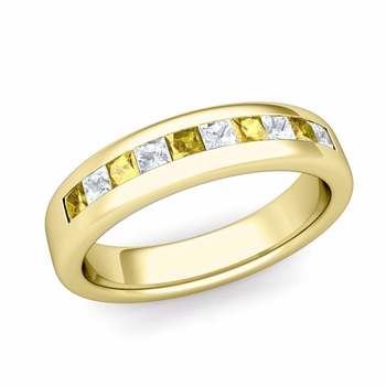 Channel Set Princess Cut Diamond and Yellow Sapphire Wedding Ring in 18k Gold, 4.5mm