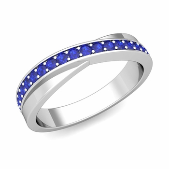 Infinity Blue Sapphire Wedding Ring Band in 14k Gold, 3.8mm