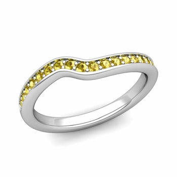 Petite Curved Yellow Sapphire Wedding Band Ring in 14k Gold