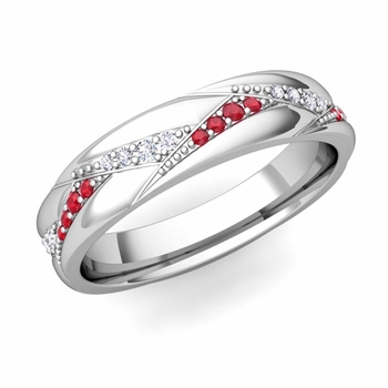 Wave Wedding Band in 14k Gold Diamond and Ruby Ring, 5mm