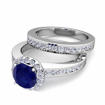 Halo Bridal Set: Diamond and Sapphire Engagement Wedding Ring in 14k Gold, 7mm