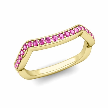 Unique Curved Pink Sapphire Wedding Ring Band in 18k Gold