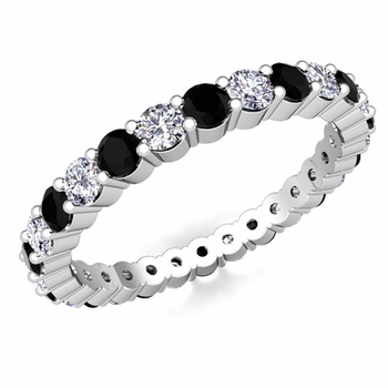 Pave Black and White Diamond Eternity Band in Platinum
