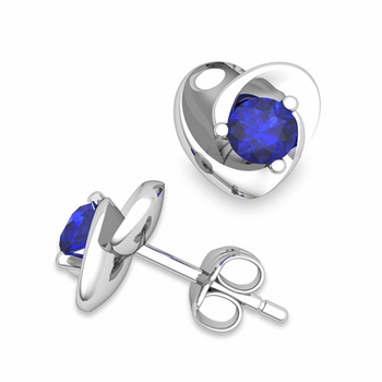 Petal Heart Sapphire Stud Earrings in 14k Gold, 4x4mm