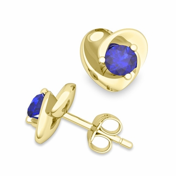 Petal Heart Sapphire Stud Earrings in 18k Gold, 4x4mm
