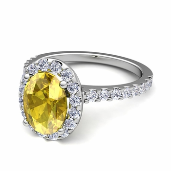 Petite Pave Set Diamond and Yellow Sapphire Halo Engagement Ring in Platinum, 7x5mm