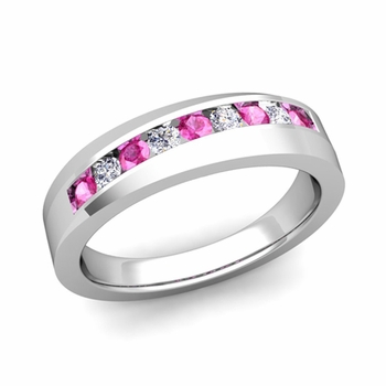 Channel Set Diamond and Pink Sapphire Wedding Band in Platinum, 4mm