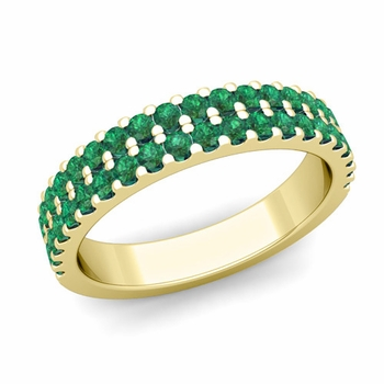 Two Row Diamond and Emerald Wedding Ring Band in 18k Gold