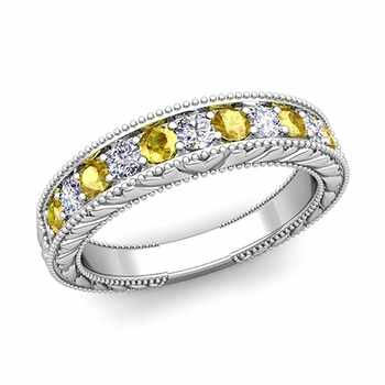 Vintage Inspired Diamond and Yellow Sapphire Wedding Ring Band in 14k Gold