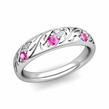 Vintage Inspired Diamond and Pink Sapphire Wedding Ring in 14k Gold 3.8mm